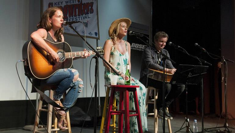 Pictured: Lori McKenna, Sarah Davidson and Steve McEwan perform at Tropic Cinema during the Key West Songwriter's Festival on May 8, 2015, in Key West, FL.