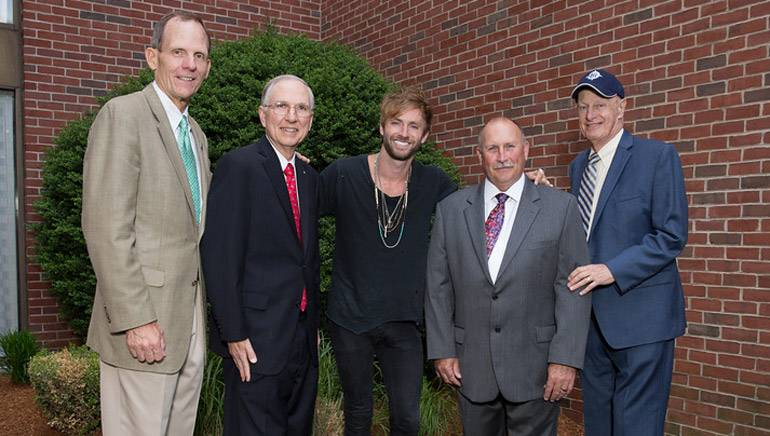 Pictured (L-R) before McDonald's performance are: BMI's Dan Spears, Hall Communications President Art Rowbotham, BMI singer-songwriter Paul McDonald, Hall Communications-Providence Vice President and General Manager Tom Wall and Hall Communications Executive Vice President Bill Baldwin.