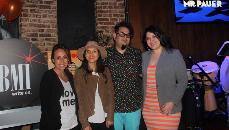 Pictured at the BMI and Red Bull LA Vida listening event at Los Globos on February 4, 2015 (L–R): BMI's VP, Latin Writer/Publisher Relations, Delia Orjuela; Red Bull Los Angeles Marketing Manager Paula Duran; Mr. Pauer and BMI's Director, Latin Writer/Publisher Relations, Krystina DeLuna.