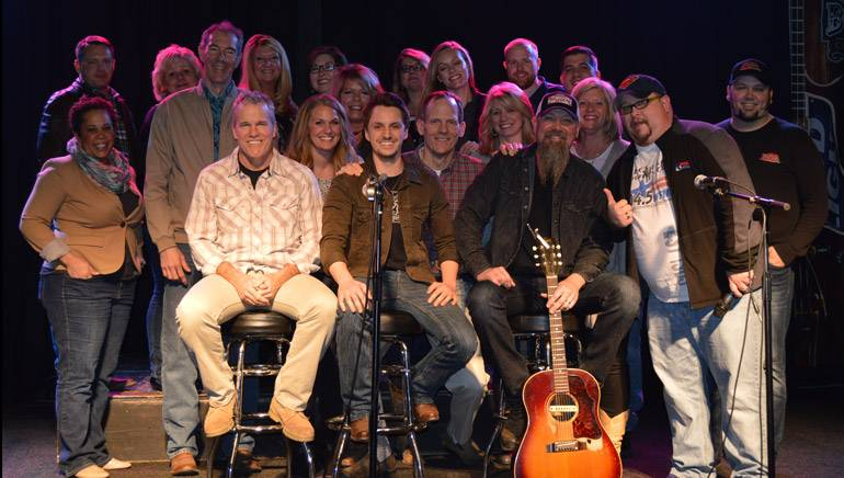 Pictured (L-R) before the show are: BMI songwriters Casey Beathard and Greg Bates, BMI's Dan Spears and BMI songwriter Kendell Marvel with the Neuhoff Media staff.