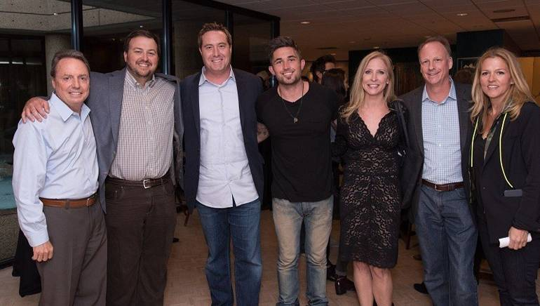 Pictured: (L-R) are: BMI's Jody Williams and Mason Hunter, AT&T's Bart Peters, BMI songwriter Michael Ray, AT&T's Jennifer Miles and Tom Sauer and BMI's Leslie Roberts.