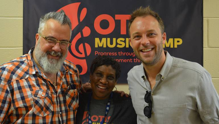 (L-R): PASTE Magazine Movies Editor and Sarasota Film Festival Creative Director Michael Dunaway, Karla Redding and BMI's David Claassen pause for a photo before their session on Music and Film at Otis Redding Foundation's Otis Music Camp. Created in 2007 by Otis Redding's wife, Zelma, the foundation aims to educate and inspire youth through music.