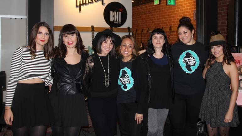 Pictured at Posada en Rosa are (L-R): Anna Sophia, Alih Jey, Ilza Rosario, BMI's Delia Orjuela, Vanessa Zamora, BMI's Krystina DeLuna and Alejandra Alberti.