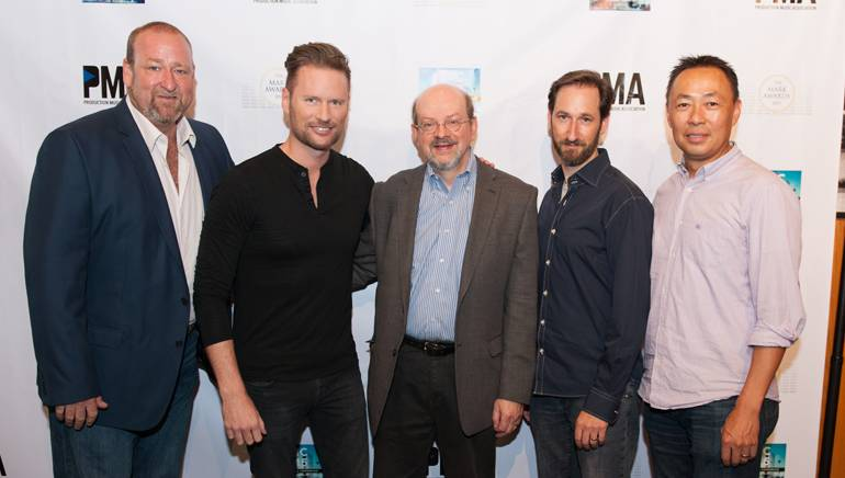 (L-R): Executive Director, PMA, Hunter Williams; BMI composer Brian Tyler; moderator Jon Burlingame; BMI composer and PMA Board Member Andrew Gross and BMI's Ray Yee during the 2015 Production Music Conference.