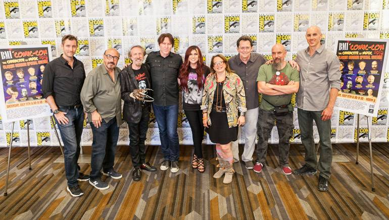 """The Character of Music"" panelists pose in the press room. (L to R) are: Co-moderator Chandler Poling (President, Krakower Poling PR), BMI composer Harry Manfredini (""Friday the 13th""), composer Charles Bernstein (""Nightmare on Elm Street""), BMI composer Tyler Bates (""Dawn of the Dead""), co-moderator and BMI Director of Film/TV Relations Anne Cecere, BMI Composer Laura Karpman (""Carrie""), BMI Composer Richard Band (""Re-Animator""), BMI composer Maurizio Guarini of Goblin (""Suspiria"") and actor Douglas Tait (""Jason"" in ""Freddy vs Jason"")"