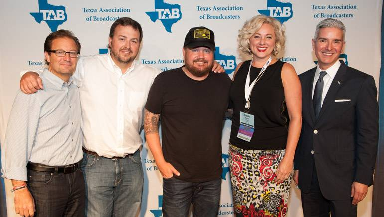 Pictured at the reception are HD Radio Senior Vice President Marketing and Broadcast Business Joe D'Angelo, BMI's Mason Hunter, BMI songwriter Randy Rogers, Senior Vice President CBS Radio Houston and TAB Board Member Sara Frazier and TAB President Oscar Rodriguez.