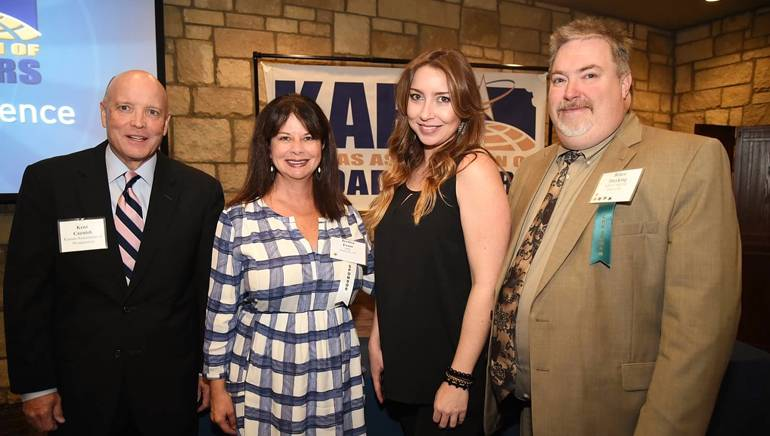 Pictured (L-R) before Sacklye's performance are: KAB President and Executive Director Kent Cornish, BMI's Jessica Frost, BMI songwriter Kylie Sackley and KAB Board Chairman and Dierking Communications, Inc. (KNDY AM/FM) Owner/Operator Bruce Dierking.