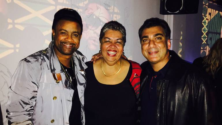 Pictured (L-R) at the Notting Hill Arts Club in London on July 23 are: Shaggy, Jamaican High Commissioner, Her Excellency Aloun Ndombet-Assamba and BMI's Bakshi.