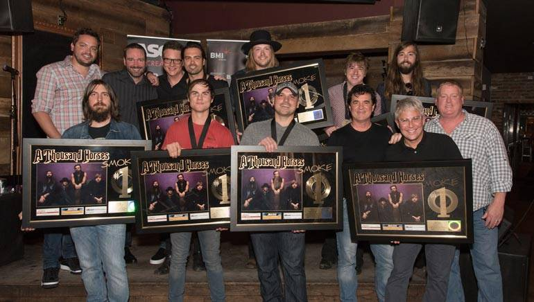 Pictured: (L-R): (back row): Warner Chappell's Travis Carter, Sony/ATV's Josh VanValkenburg, BMI's Perry Howard, A Thousand Horses member Zach Brown with bandmate and BMI songwriter Michael Hobby and bandmates Bill Satcher and Graham Deloach. (Front row): Producer Dave Cobb, BMI songwriter Ross Copperman, songwriter Jon Nite, Big Machine's Scott Borchetta, Republic Nashville/Big Machine Label Group's Jimmy Harnen and ASCAP's Mike Sistad.