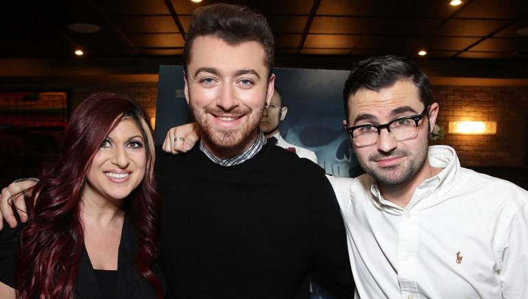 "Pictured (L-R) at the studio's screening of 'Spectre' are: BMI's Director of Film/TV Relations Anne Cecere and ""Writing's on the Wall"" co-writers Sam Smith and Jimmy Napes."