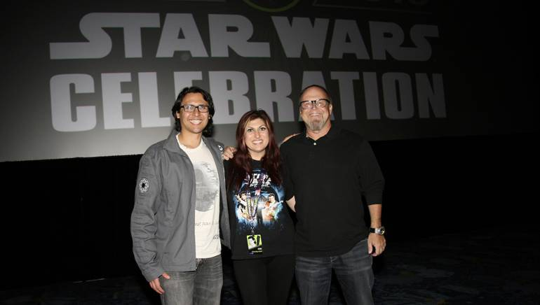 Music editor Sean Kiner, BMI's Anne Cecere and BMI composer Kevin Kiner at the 2015 Star Wars Celebration in Anaheim, CA.