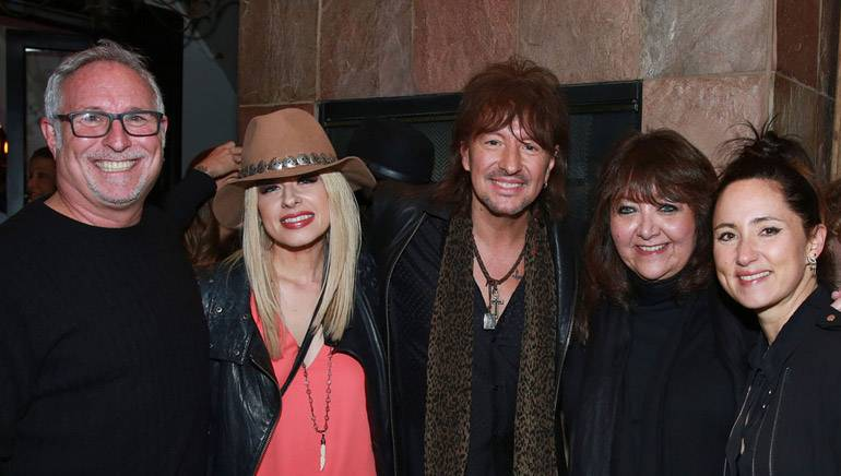 Pictured at BMI's annual Sundance dinner on January 27, 2015 at Zoom (L–R): Talent agent Joel Roman; musician Orianthi; musician Richie Sambora; BMI's VP, Film/TV Relations, Doreen Ringer-Ross and musician KT Tunstall.