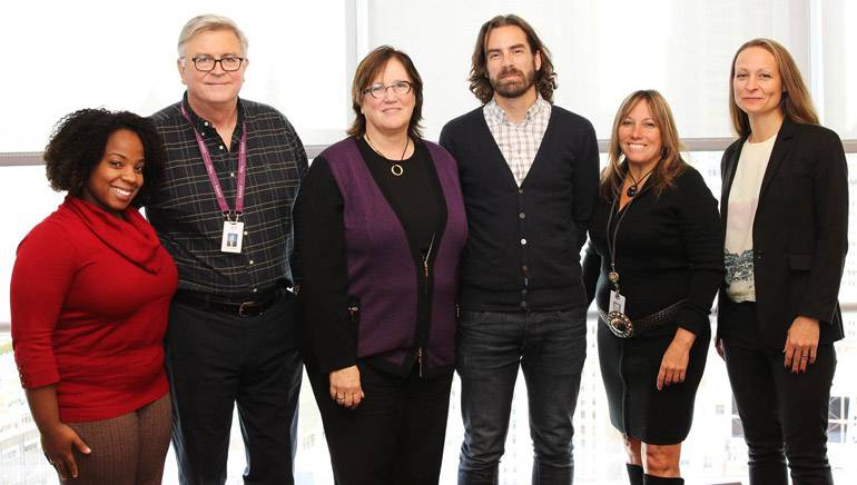 Pictured (L-R) are: BMI's Crystal Ross, Phil Graham, Ann Sweeney; Daniel Jäger, Rightsholder Relations Manager, STIM; BMI's Consuelo Sayago; and Sara Kilander, Director of Rightsholder Relations, STIM.