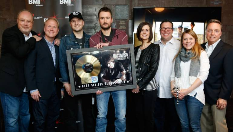 Pictured (L-R): EMI Nashville's Mike Dungan, Sony/ATV's Troy Tomlinson, BMI songwriters Luke Laird and Eric Church, Creative Nation's Beth Laird, Universal Publishing Kent Earls, Little Louder Music's Whitney Parker, BMI's Jody Williams.