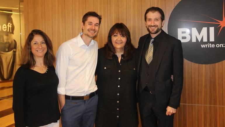 Pictured (L-R) are: UCLA Extension Program Director Pascale Cohen-Olivar, UCLA Extension Music Program Representative Zeph Nowland, BMI's Doreen Ringer Ross and BMI/Jerry Goldsmith Film Scoring Scholarship recipient Martin Ulikhanyan.