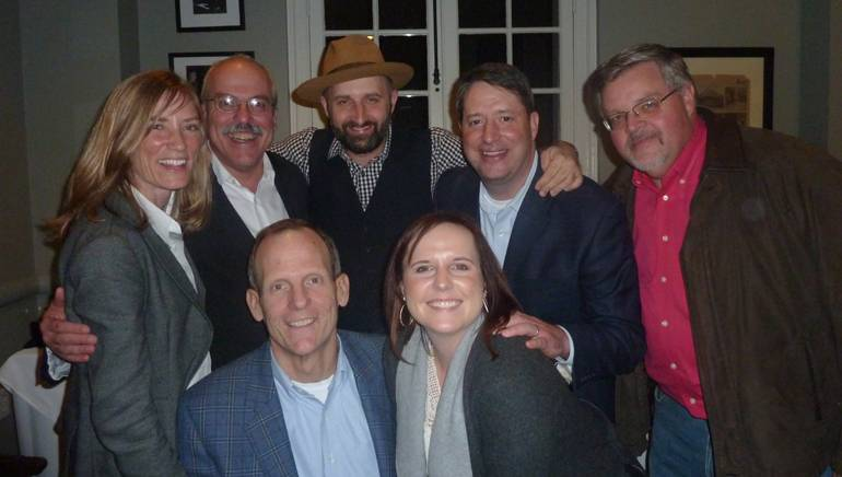 Pictured (L-R) before Seth took the stage are (back row): Maryland Hotel and Lodging Association President and CEO Amy Rohrer, ISHAE Chair and Maine Innkeepers Association Executive Director Greg Dugal, BMI songwriter Seth Walker, Tennessee Hospitality Association President and CEO Greg Adkins, Virginia Hospitality & Travel Association President Eric Terry. (front row): BMI's Dan Spears and Arkansas Director of Membership & Special Events Holly Heer.