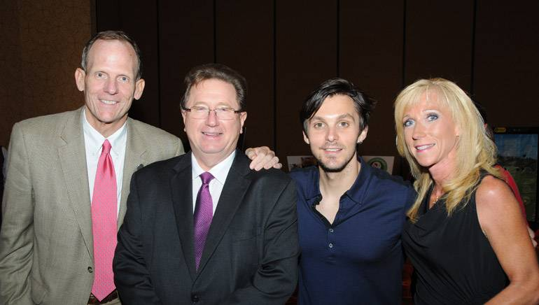Pictured (L-R) before Charlie's performance are: BMI's Dan Spears, IBA President and CEO Dennis Lyle, BMI songwriter Charlie Worsham, IBA outgoing Board Chair and WJIL/WJVO- Jacksonville GM Sarah Hautala.