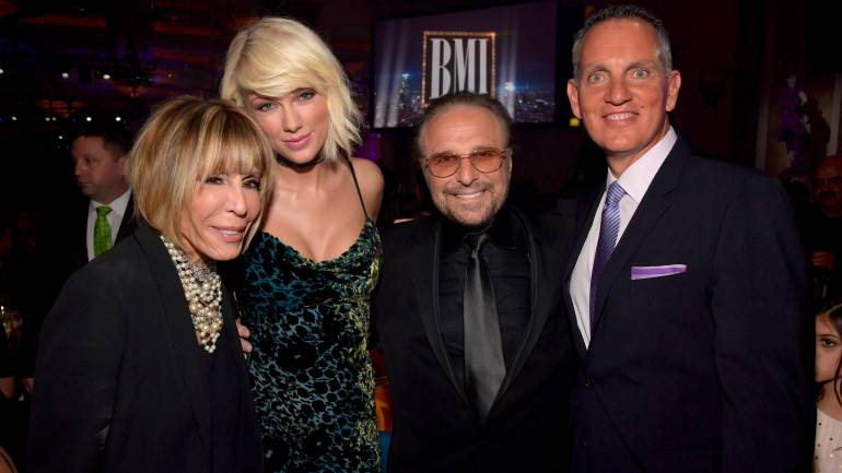 (L-R) Honorees Cynthia Weil, Taylor Swift and Barry Mann with BMI President & CEO Mike O'Neill attend The 64th Annual BMI Pop Awards, honoring Taylor Swift and songwriting duo Mann & Weil, at the Beverly Wilshire Four Seasons Hotel on May 10, 2016 in Beverly Hills, California.