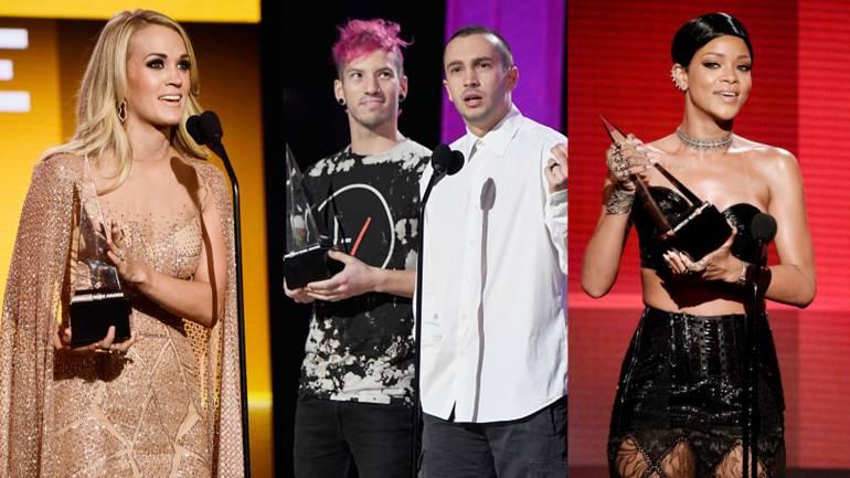 Pictured: Carrie Underwood, Twenty One Pilots, Rihanna
