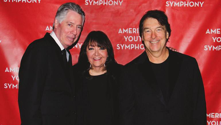 "Pictured (L-R): BMI composer Alan Silvestri, BMI's Doreen Ringer-Ross and BMI composer David Newman pause for a photo at AYS' LIVE to picture performance of ""Back to the Future."""