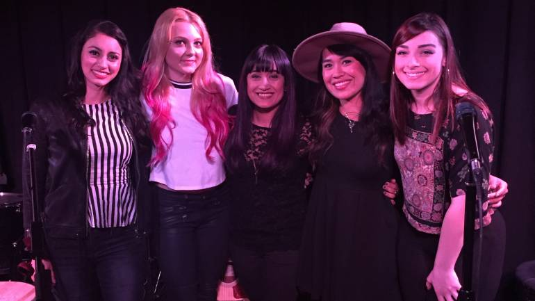 Pictured at BMI's March Acoustic Lounge on March 7 are (l-r): performers Anahita Skye, Alexi Blue, Darlene & Jasmine and Chelsea Davs
