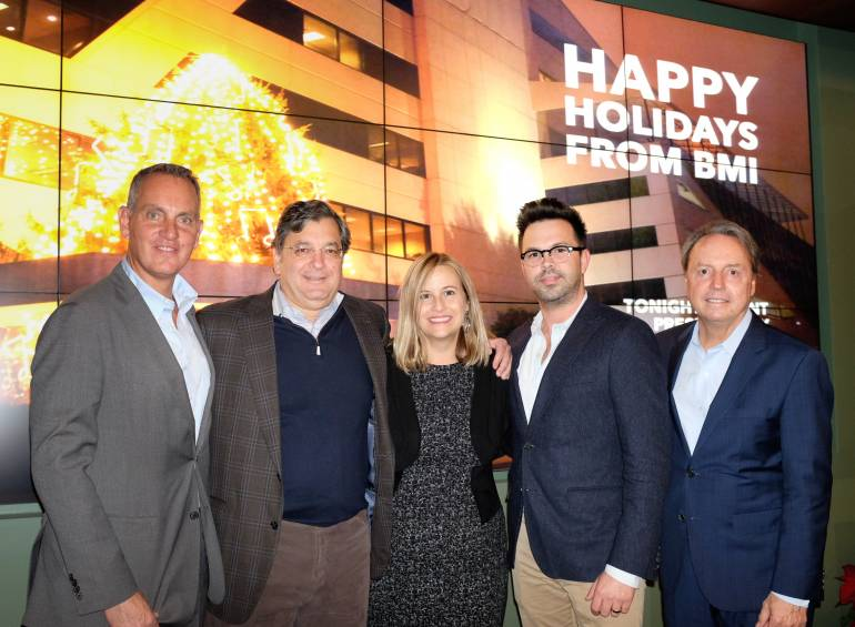 Pictured: (L-R): BMI's Mike O'Neill, Anderson Benson's George Anderson, Mayor Megan Barry, Anderson Benson's Brent Daughrity and BMI's Jody Williams. (Photo by Steve Lowry.)