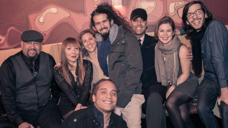 from left to right: Percussionist Isidro Bobadilla, Natalia Clavier, Eleanor Dubinsky, Bam Bam Rodríguez, EliaCim, BMI's Carolina Arenas, Gabriel Chakarji and guitarist Yasser Tejeda.
