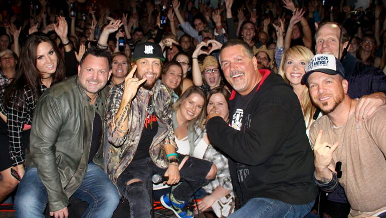 Pictured (L-R) with the audience at LoCash' performance at Coyote Joe's are: WYCD-FM morning personality Steve Grunwald, LoCash's Preston Brust, WYCD-FM Program Director Tim Roberts, WYCD-FM on-air personality Holly Hutton, BMI's Dan Spears and LoCash's Chris Lucas.