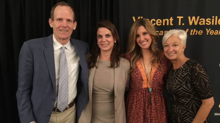 Pictured after the awards banquet (L-R): BMI's Dan Spears, Neuhoff Media President & CEO Beth Neuhoff, Skye Claire, Olin Associates' Kay