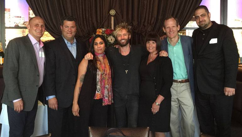 Pictured (L-R) after the BMI music licensing seminar at Chicago Prime Steakhouse are: IRA Director of Sales and Marketing Eric Fine, Chicago Prime Steakhouse Managing Partner Andy-John G. Kalkounos, IRA Senior Member Relations Manager Christine DeSousa, BMI songwriter Paul McDonald, Renaissance Schaumberg Convention Center Hotel GM Lisa Timbo,BMI's Dan Spears andIRA Member Relations Manager Bill Taylor.