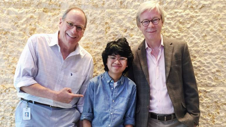 Pictured (L to R): BMI Vice President, Writer/Publisher Relations, Charlie Feldman; Joey Alexander; and BMI Director, Writer/Publisher Relations, Jazz & Musical Theatre, Patrick Cook pose for a photo at BMI's NY office.