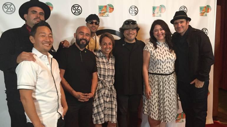 Pictured at Ozomatli's record release at EastWest Studios in Hollywood, CA (L-R) are: Jiro Yamaguchi, Ulises Bella, Raúl Pacheco, Justin 'El Niño' Porée, BMI's Delia Orjuela, Asdru Sierra, BMI's Krystina DeLuna, Wil-Dog Abers