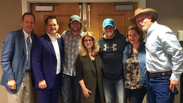 Pictured (L-R) after the performance for the RAB Board are: BMI's Dan Spears, iHeart Media President of Corporate Operations and outgoing RAB Board Chair Hartley Adkins, BMI songwriter Brandon Kinney, RAB President and CEO Erica Farber, BMI songwriter Shane Minor, Hubbard Radio Chair, incoming RAB Board Chair and BMI Board Member Ginny Morris and BMI songwriter Wynn Varble.