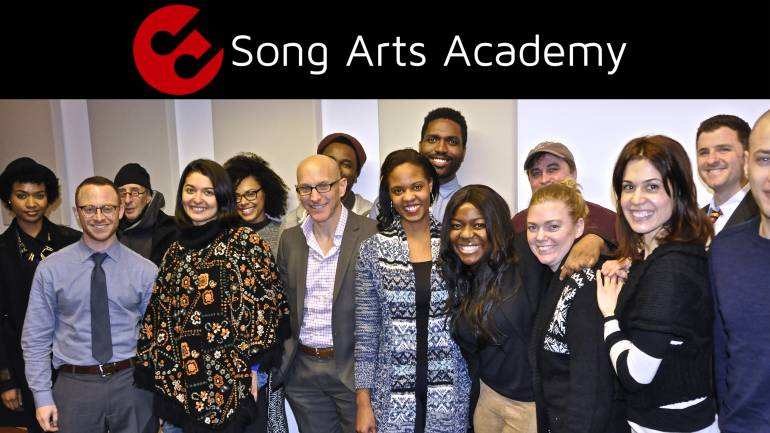 Past members of the Song Arts Academy Workshop Intensive gather for a photo.