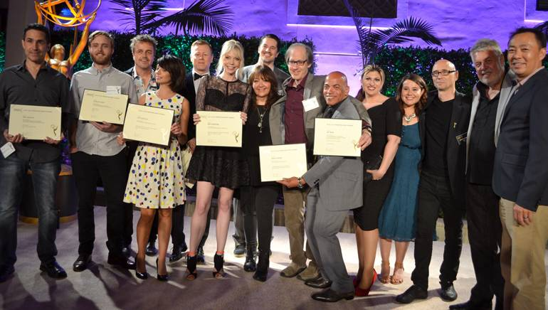 Pictured (L-R) at the SCL Emmys nominee reception at Montage Beverly Hills are: BMI composer and 2016 Emmy award winner Mac Quayle, BMI composer and nominee Duncan Thum, BMI composer and 2016 Emmy award winner Sean P. Callery, BMI composer and nominees Kate Micucci, Abel Korzeniowski, Riki Lindhome and Chris Bacon, BMI's Doreen Ringer-Ross, BMI composer and nominee Jeff Beal, BMI composer, nominee and Television Academy Governor Rickey Minor, BMI's Anne Cecere and Evelyn Rascon, Television Academy Governor Michel Levine, SCL President Ashley Irwin and BMI's Ray Yee.