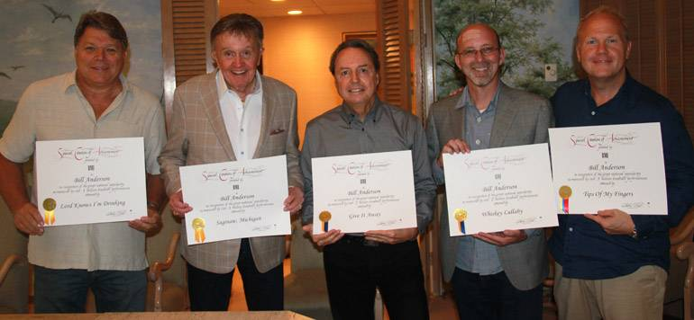 BMI's David Preston, BMI singer-songwriter Bill Anderson, BMI's Jody Williams, Sony ATV's Terry Wakefield and Troy Tomlinson gather together to celebrate the major milestones of Bill's songs.