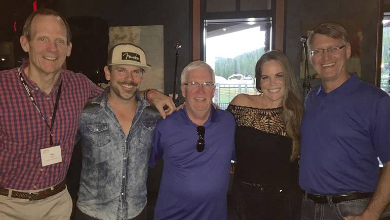 Pictured (L-R) after Bonnie's performance are: BMI's Dan Spears, guitarist Ford Thurston, MBA President and CEO Dewey Bruce, BMI singer-songwriter Bonnie Bishop and Butte Broadcasting owner and MBA Board Chair Ron Davis.