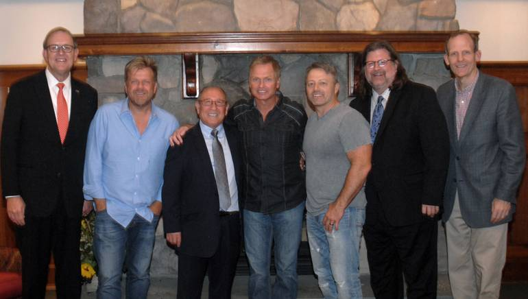 Pictured (L-R) after the songwriter showcase are: PRLA President and CEO John Longstreet,BMI songwriter Wendell Mobley, Di Pietro Ristorante owner Pietro DiPietro, BMI songwriters Tim James and Dan Couch, PRLA Board Chair and Priory Hospitality Group President John Graf and BMI's Dan Spears.