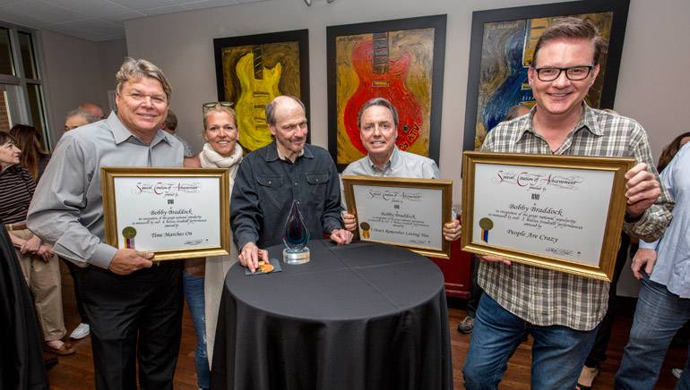 Pictured: (L-R): BMI's David Preston and Leslie Roberts, BMI songwriter Bobby Braddock and BMI's Jody Williams and Perry Howard.