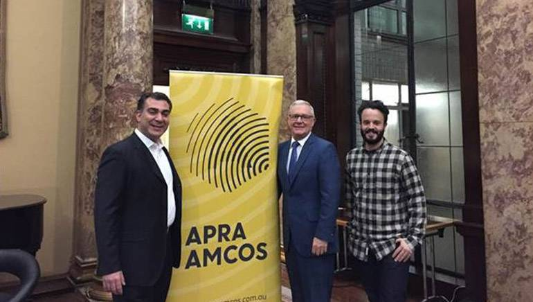 Pictured (L-R): BMI's Brandon Bakshi; Deputy High Commissioner to the United Kingdom, Andrew Todd; and Adam Townsend of APRA AMCOS Member Relations, U.K. and Europe.