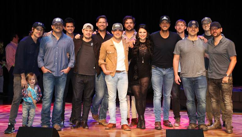Pictured: (L-R): BMI songwriters Ross Copperman and Rhett Akins, songwriter, Michael Carter, BMI songwriters Jody Stevens and Tommy Cecil, songwriter Cole Taylor, BMI songwriters Dallas Davidson, Jaida Dreyer, Luke Bryan and Cole Swindell, songwriters Jon Nite, Luke Laird and Chris DeStefano.
