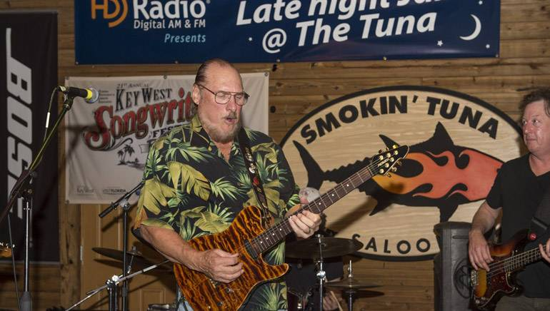 Steve Cropper performs with Guthrie Trapp and the Mulekickers at the Smokin' Tuna Saloon during Key West Songwriters Festival on May 5, 2016.