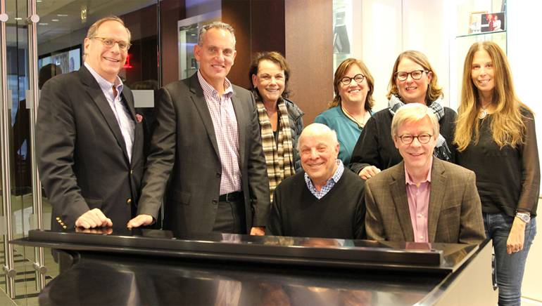 BMI's Charlie Feldman and Mike O'Neill, Joan Fox and BMI's  Ann Sweeney, Alison Smith, Brooke Morrow and Patrick Cook pose for a photo during BMI composer Charlie Fox's visit to the New York office.