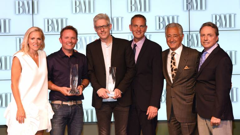BMI's Leslie Roberts, BMI Songwriters of the Year Chris Tomlin and Matt Maher, BMI's Mike O'Neill, Del Bryant and BMI's Jody Williams at the 2016 BMI Christian Awards