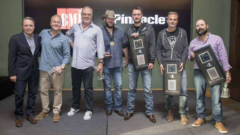 Pictured: (L-R): BMI's Jody Williams, Sony ATV's Troy Tomlinson, UMG Nashville's Mike Dungan, BMI songwriter Jeff Hyde, BMI artist Eric Church, Q Prime Management's John Peets and Little Louder's Arturo Buenahora.
