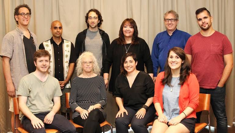 "Pictured (L-R) at the ""Composing for the Screen"" workshop are: Jeffrey Schiller, Vikas Deo, Anthony Bregman, BMI's Doreen Ringer-Ross, BMI composer and workshop director Rick Baitz and Marcus Bagala. (Front row): Trevor Bumgarner, Martha Mooke, Carla Patullo, and Sumerlin Simpson."