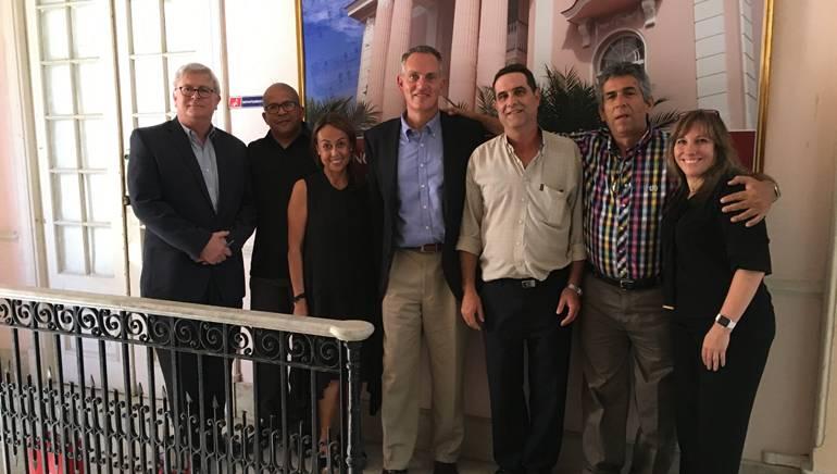 BMI's Phil Graham, ACDAM'sLeonel Elias Pernas,BMI's Delia Orjuela, BMI's Mike O'Neill, ACDAM'sRené Hernández Quintero, ACDAM'sJorge Luis Arceo Jiménez,and BMI's Consuelo Sayago meet in Cuba on May 25.