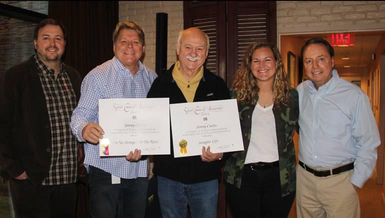 Pictured: (L-R): BMI's Mason Hunter and David Preston, BMI songwriter Sonny Curtis and BMI's Nina Carter and Jody Williams.