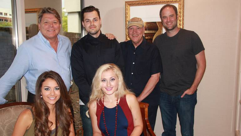 Pictured: (L-R): back row: BMI's David Preston, producer Brennan Aerts, Stormey Music Recording's Billy Aerts and producer Jason Hall. Seated: BMI songwriters and The Damsels' Aubree Bullock and Keenie Word.
