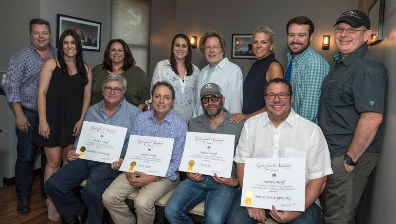 Pictured: (L-R): Front Row: BMI's Phil Graham and Jody Williams, BMI songwriter Andrew Dorff, Universal Music Publishing's Kent Earls. Back Row: BMI's Bradley Collins, business manager Anna Marsh, Universal Music Publishing's Cindi Forman, Missy Roberts, BMI Songwriter Steve Dorff, BMI's Leslie Roberts, Universal Music Publishing's Travis Gordon and Ron Stuve.